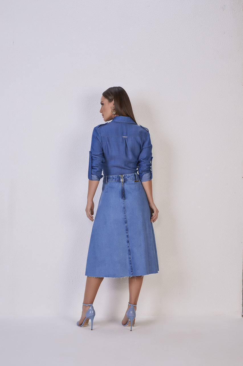 25697 - Saia Evase c/ Plissado Jeans - Titanium Jeans - 67cm