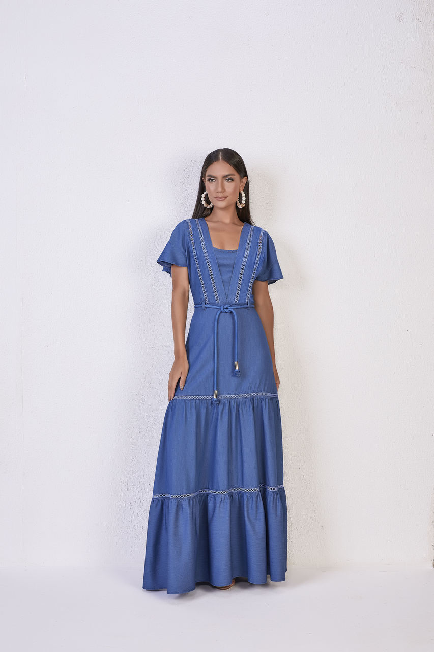 25820  Vestido Longo Jeans - Titanium Jeans - 148 cm