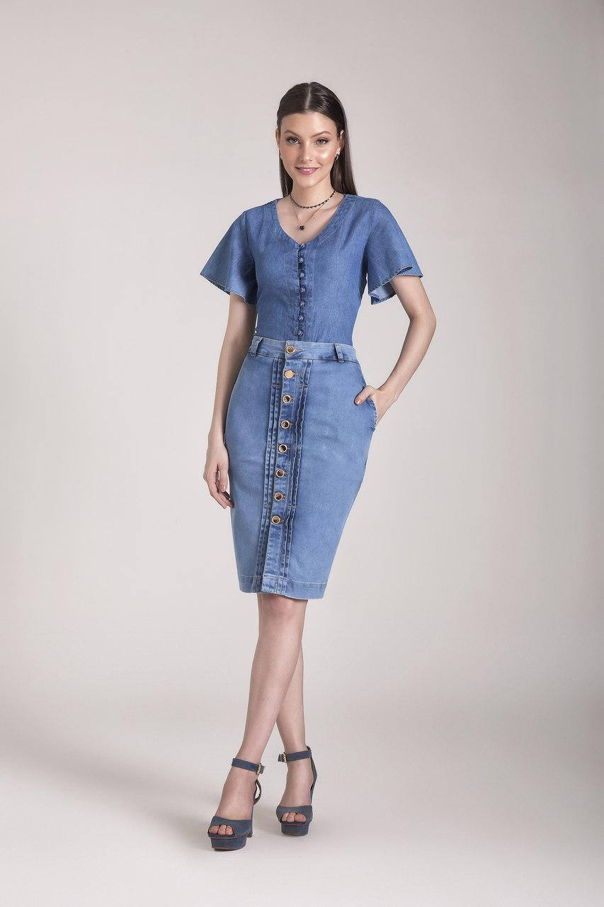 8617-Saia lápis jeans - Laura Rosa