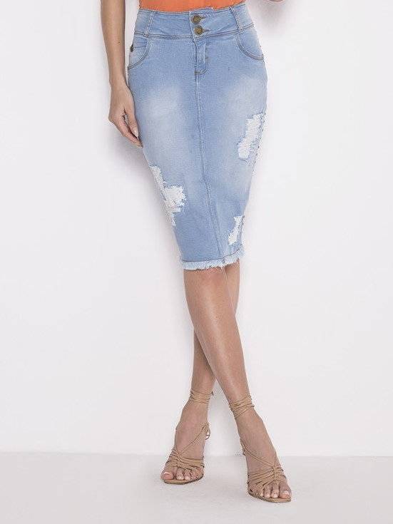 89535 - Saia Tradicional Jeans - Laura Rosa - 62cm