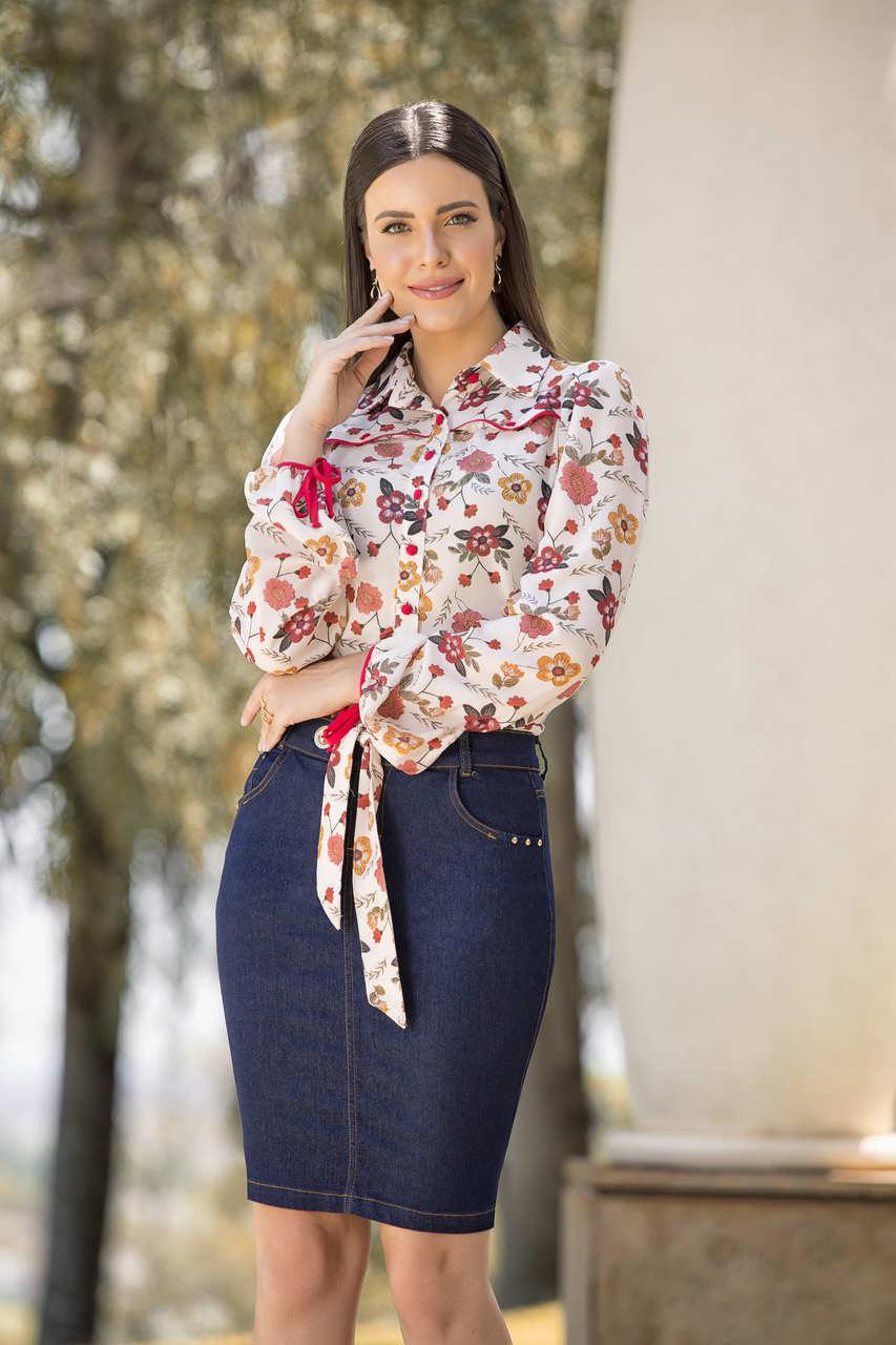 89633- Camisa crepe estampada - Laura Rosa
