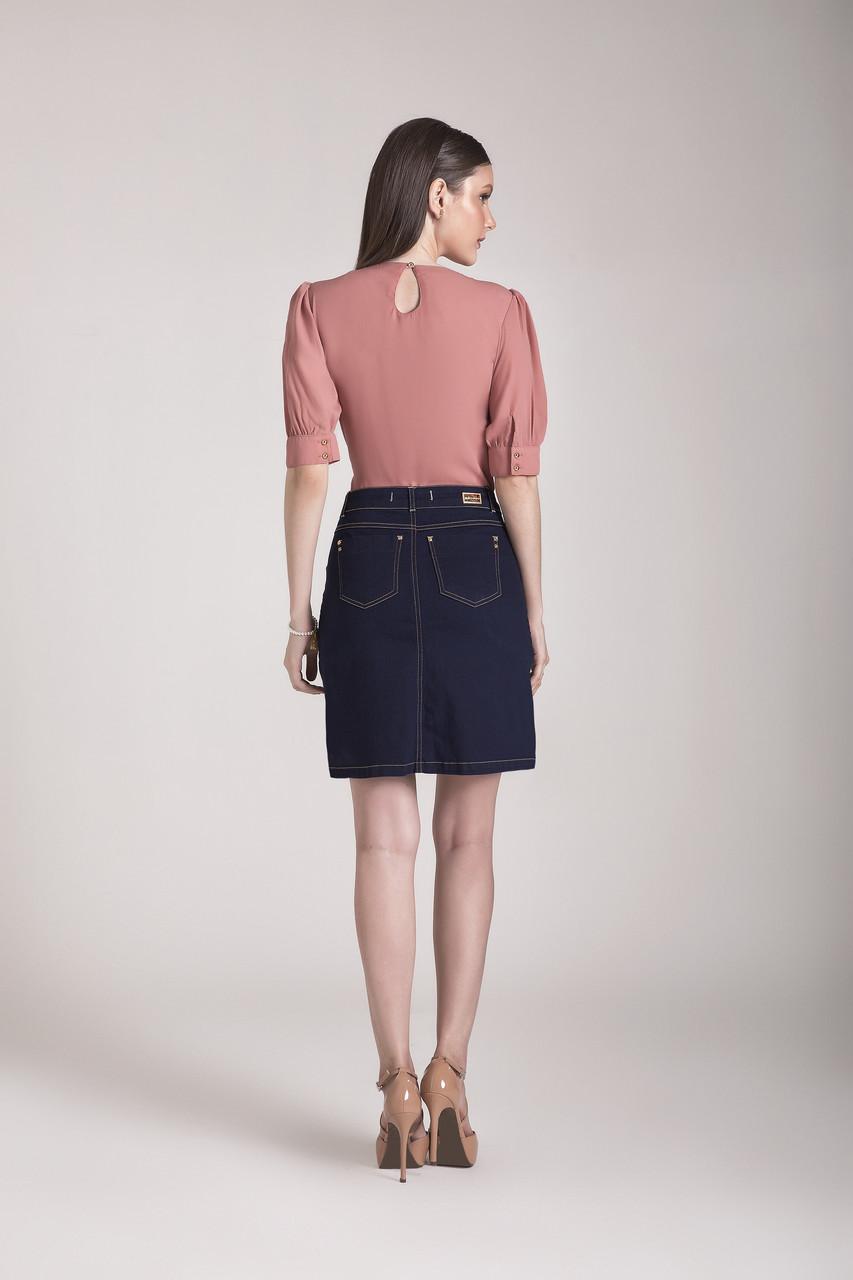 89671- Saia evasê jeans - Laura Rosa