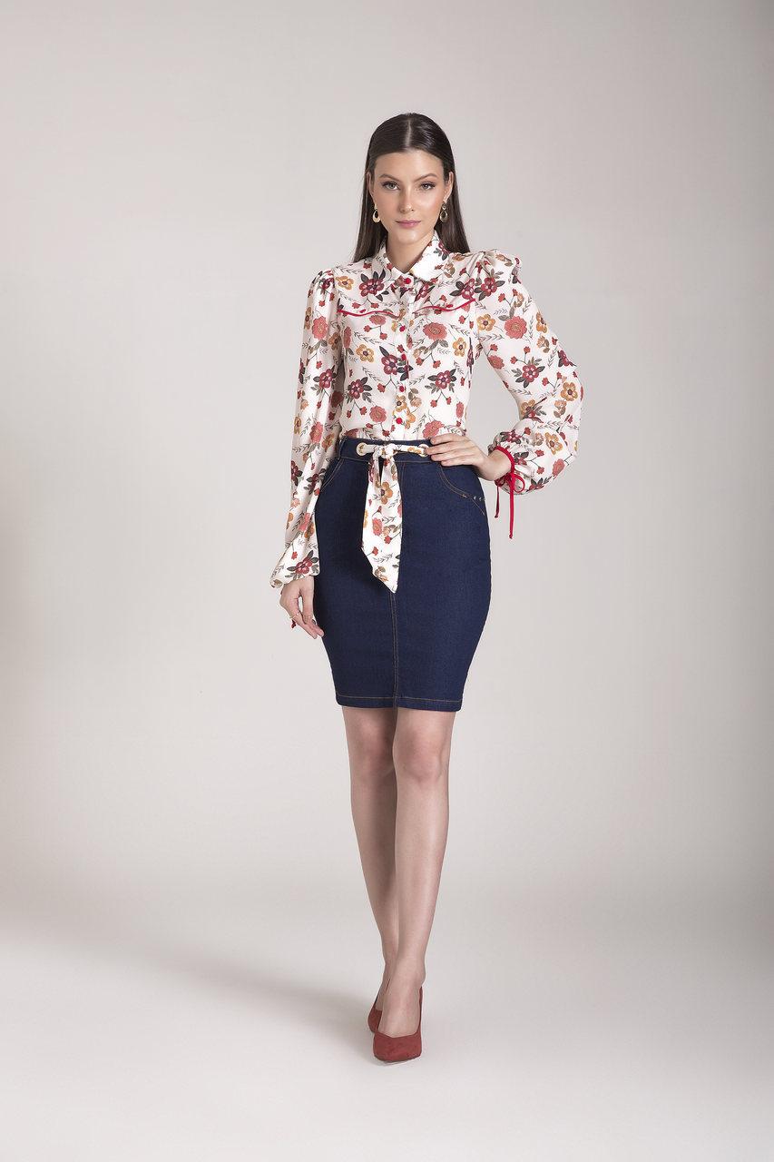 89683- Saia tradicional jeans - Laura Rosa