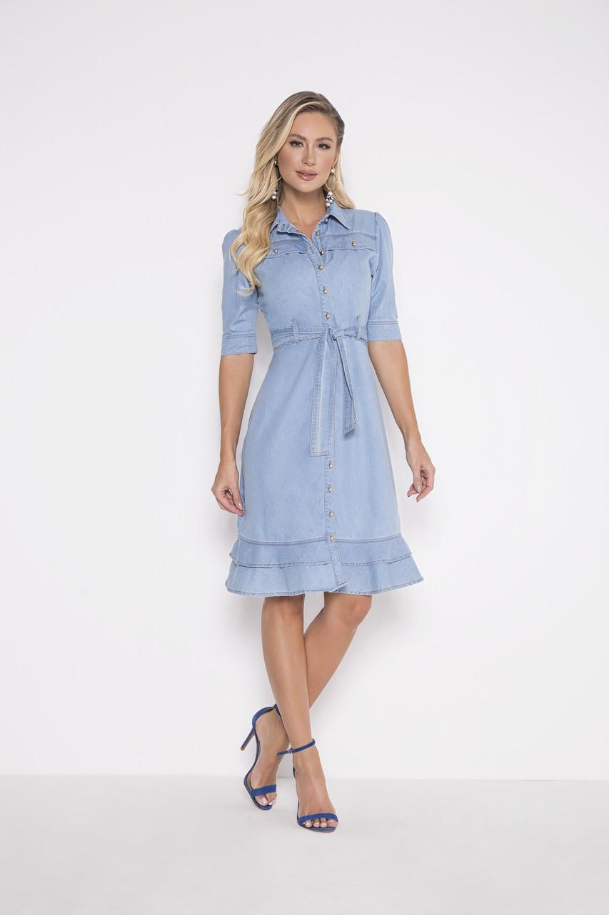 89695 - Vestido Jeans - Laura Rosa - 105cm