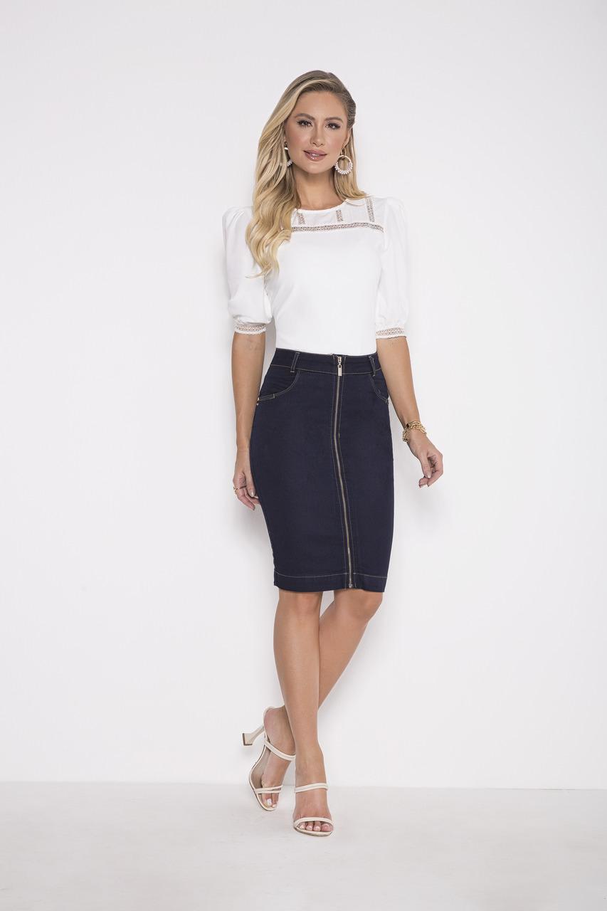 89698-Saia Lápis Jeans - Laura Rosa - 55cm