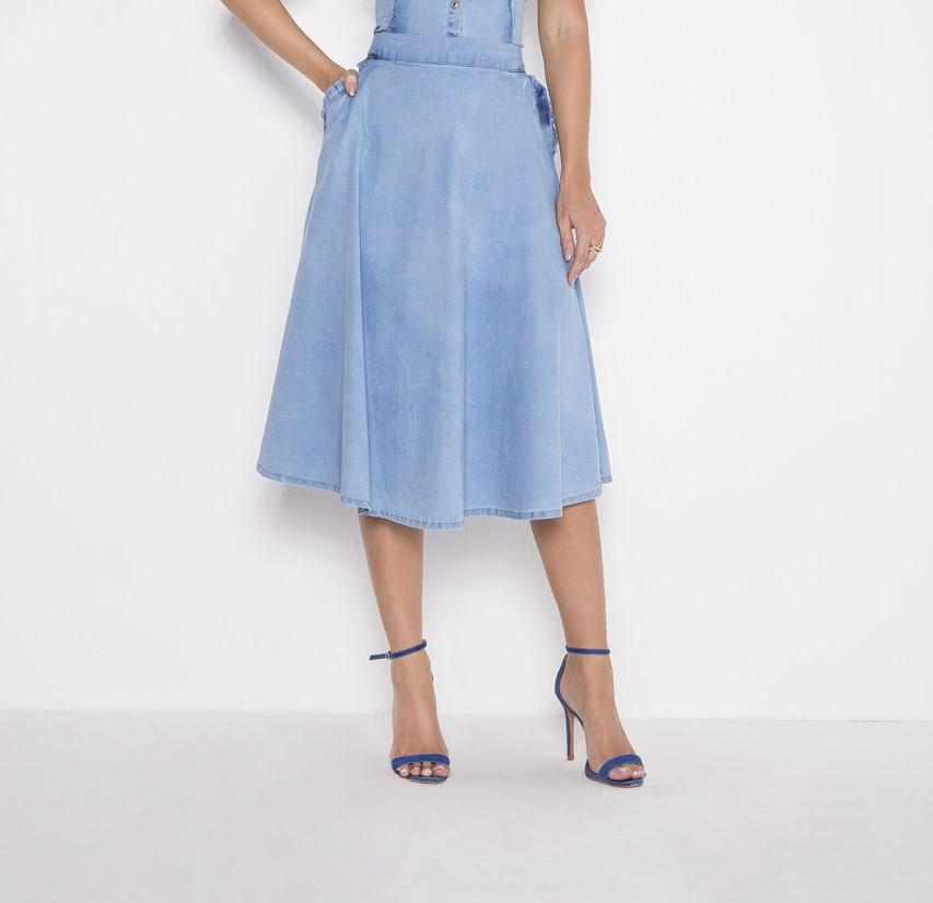 89704 - Saia godê jeans - Laura Rosa 75cm