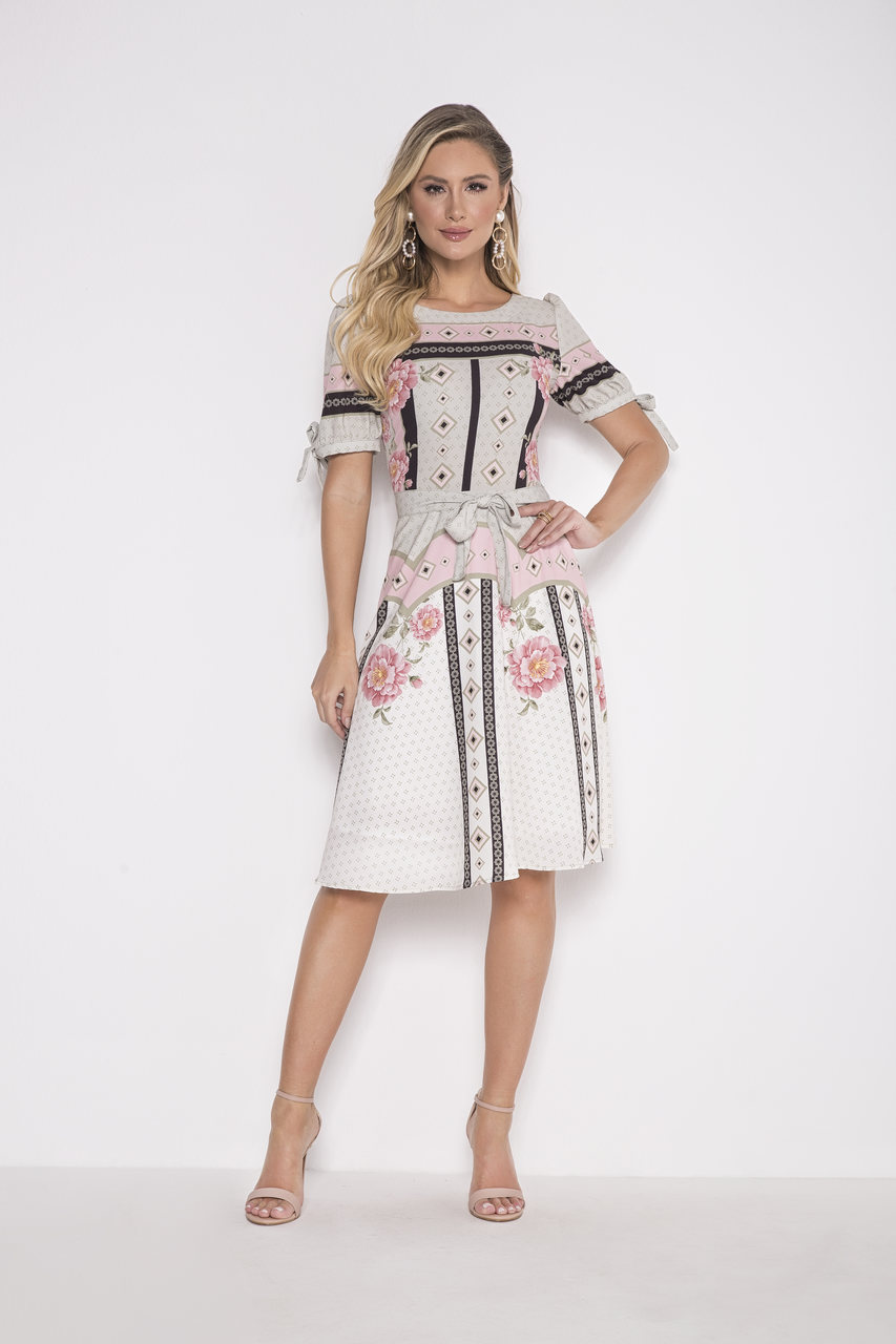 89706- Vestido crepe estampado - Laura Rosa - 100cm