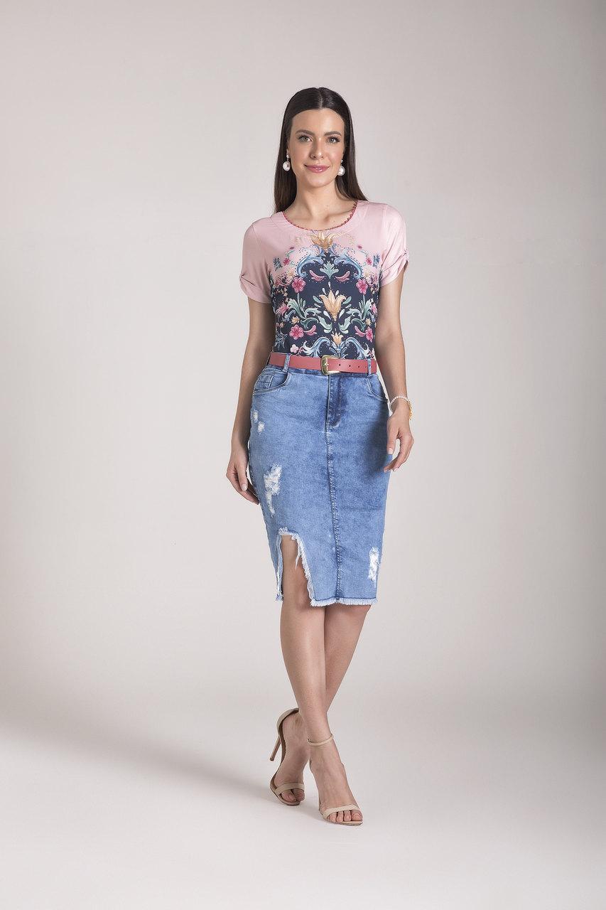 89690- Saia tradicional jeans - Laura Rosa