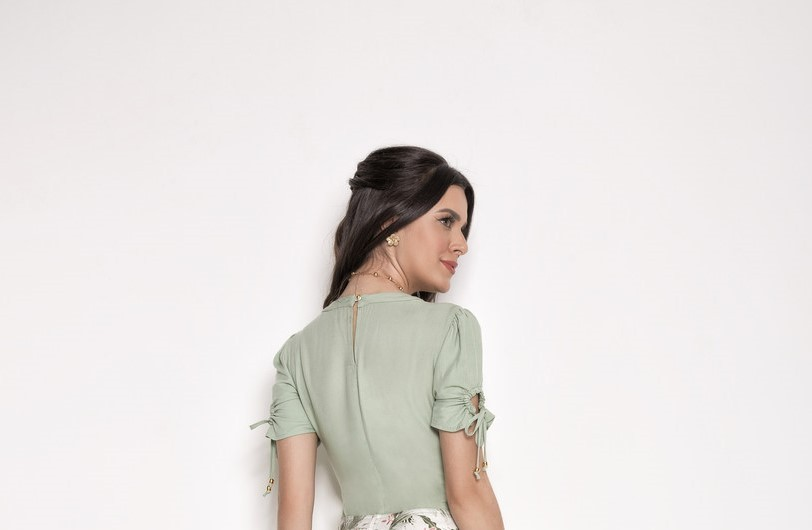Blusa Viscose Verde Laura Rosa 89564