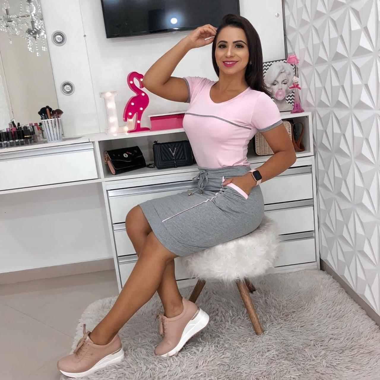 CONJUNTO EM MALHA MANGA CURTA COM RECORTES - BELLY MODA