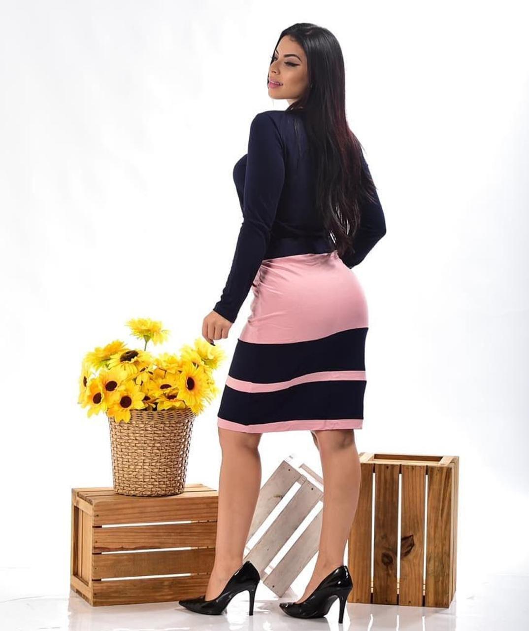 CONJUNTO EM MALHA MANGA LONGA BICOLOR - BELLY MODA