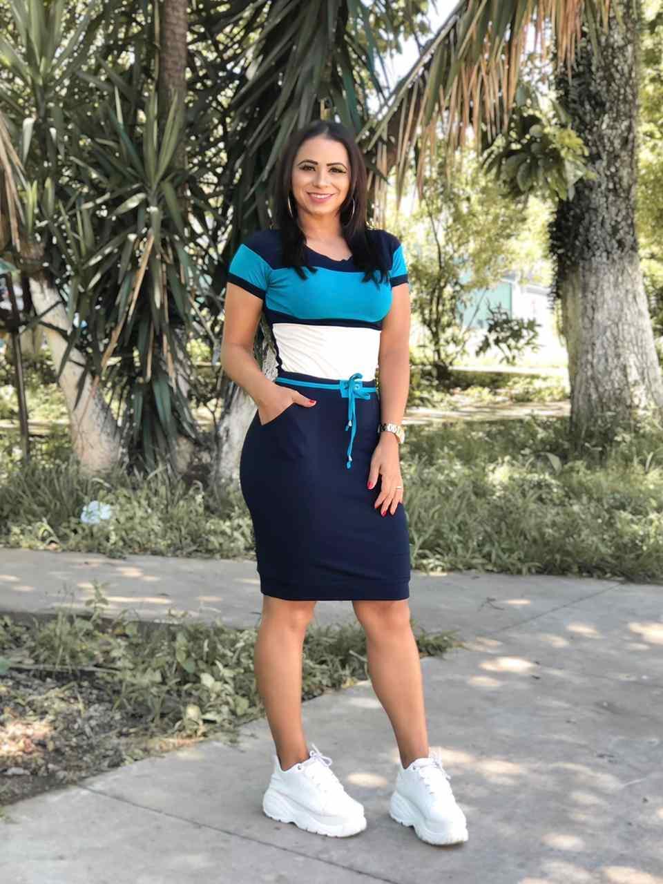 CONJUNTO TRICOLOR EM MALHA MANGA CURTA COM RECORTES - BELLY MODA