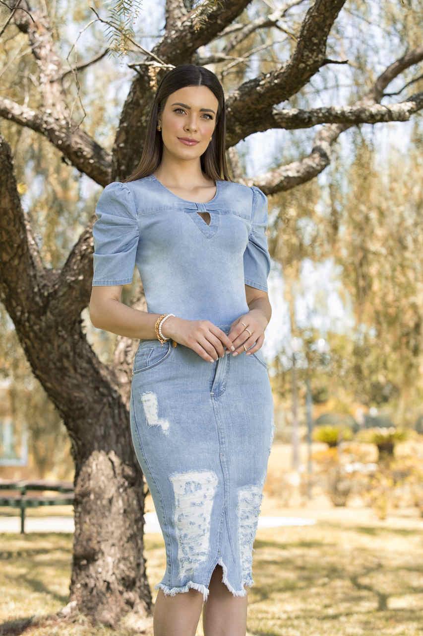 89667 - Saia tradicional jeans - Laura Rosa