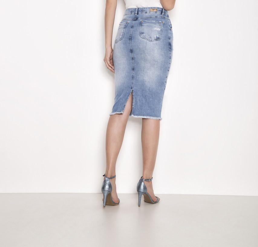 Saia Tradicional Jeans Laura Rosa 89583