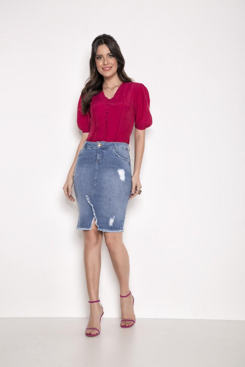Saia Tradicional Jeans - Laura Rosa 89584