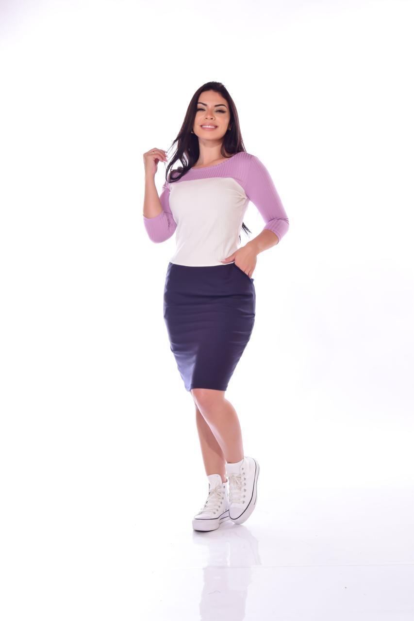 VESTIDO DANIELA JUSTO COM RECORTES TRICOLOR - BELLY MODA