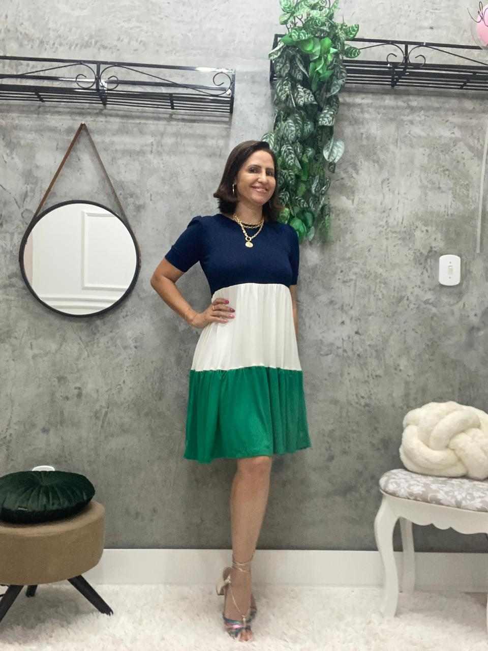 VESTIDO DYANA  TRICOLOR COM MARIAS  - BELLY MODA