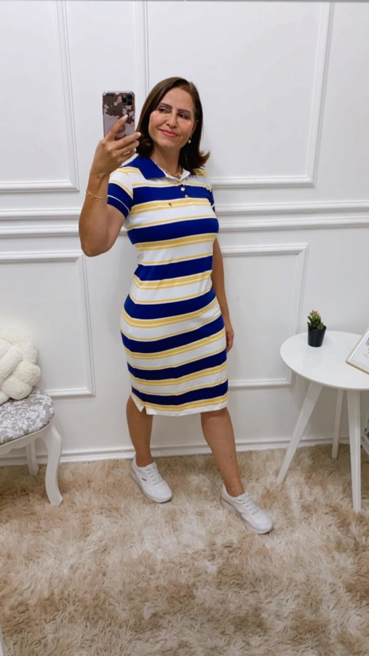 VESTIDO ISABELLY POLO LISTRADO - BELLY MODA