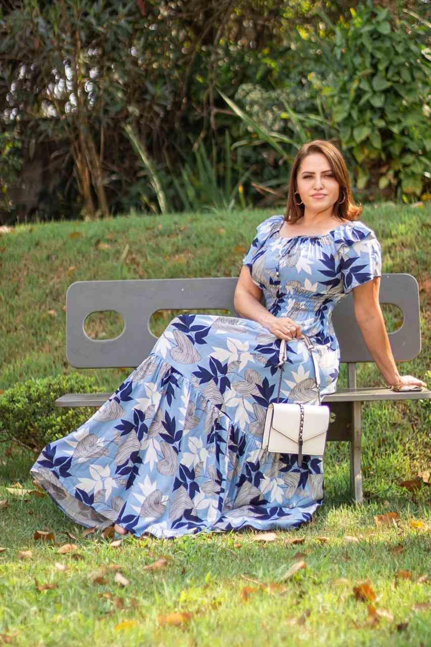 VESTIDO LONGO COM LASTEX MANGA FLARE E MARIAS - BELLY MODA