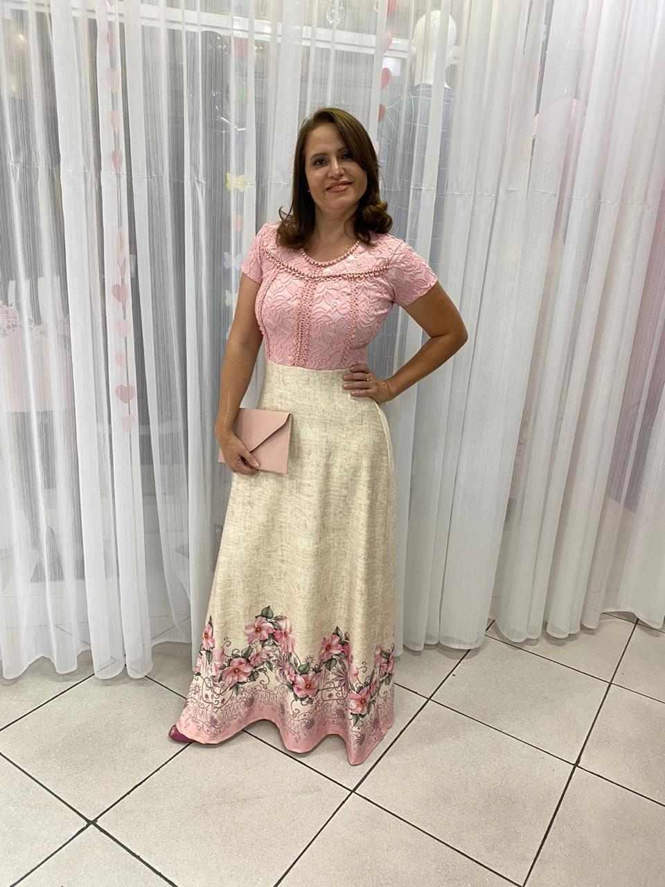 VESTIDO LONGO ESTAMPADO COM RENDA - ROSA PINK