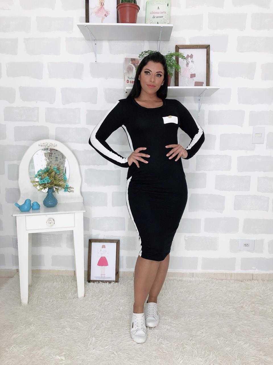 VESTIDO TUBINHO MANGA LONGA COM RECORTES  - FEMININE FASHION