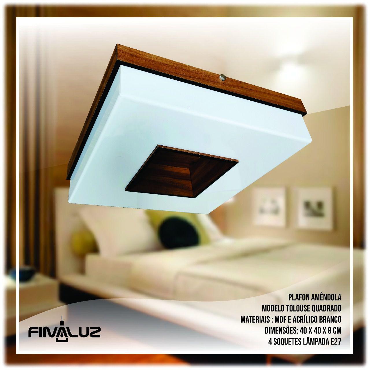 Luminária Plafon Quadrado De Madeira Cristal 40cm | Tolouse | Linha França