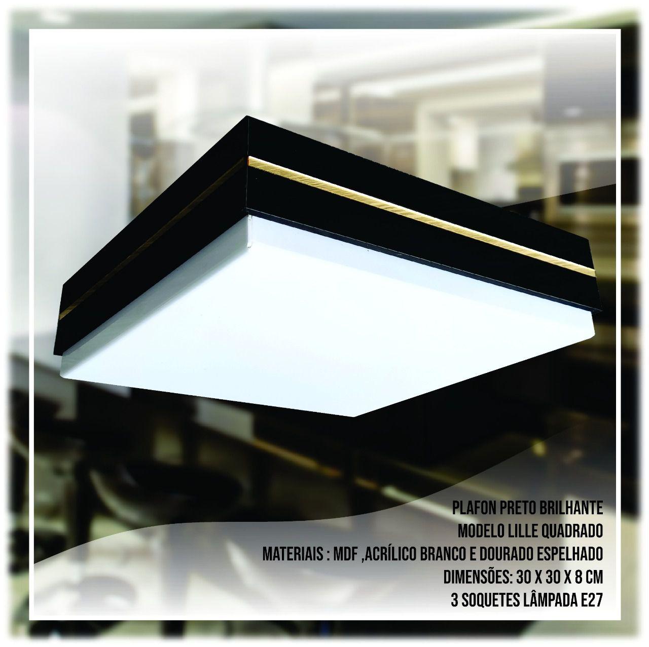Luminária Plafon Quadrado De Madeira Preta 30cm | Lille | Linha França