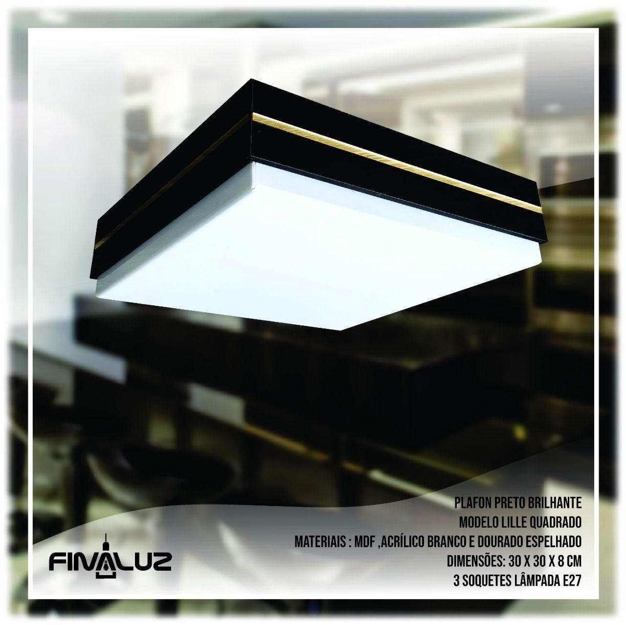 Luminária Plafon Quadrado De Madeira Preta 30cm   Lille   Linha França