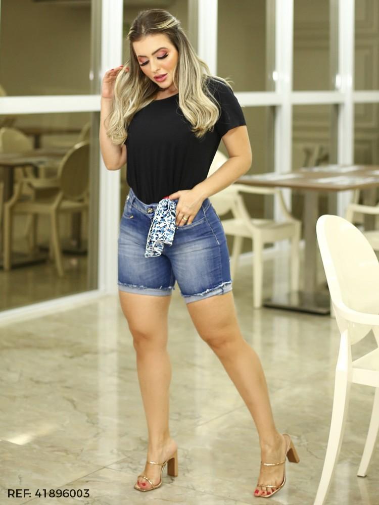 BERMUDA FEMININA GISELE MEIA COXA LENCO