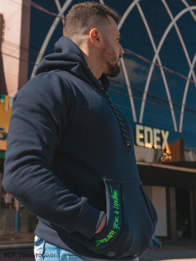 Blusao masculino moletom canguru