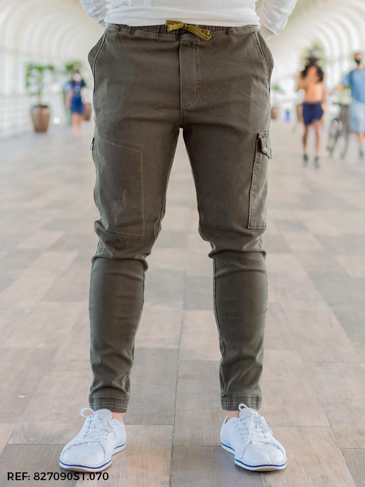 Calça masculina jogging utilitária