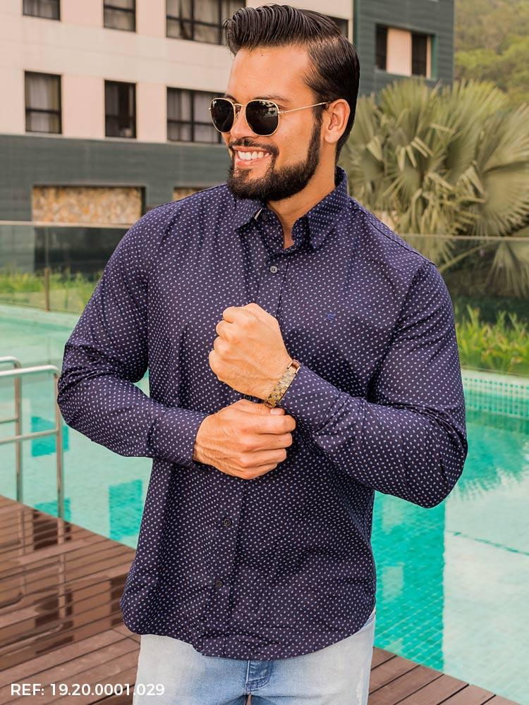 Camisa masculina manga longa casual