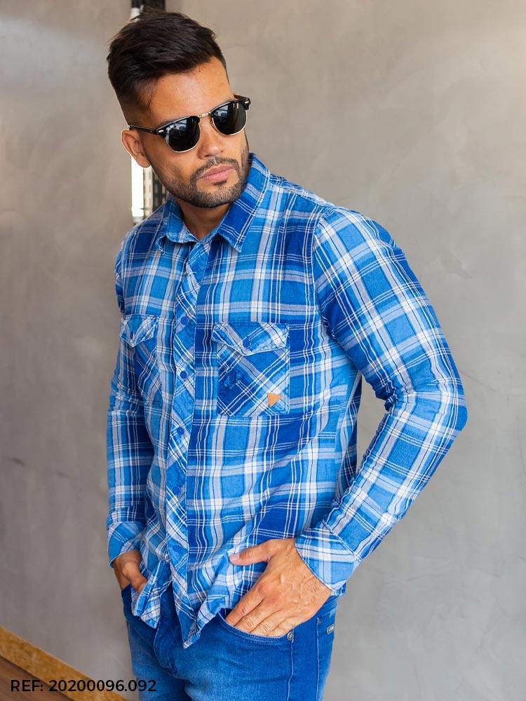 Camisa masculina manga longa xadrez
