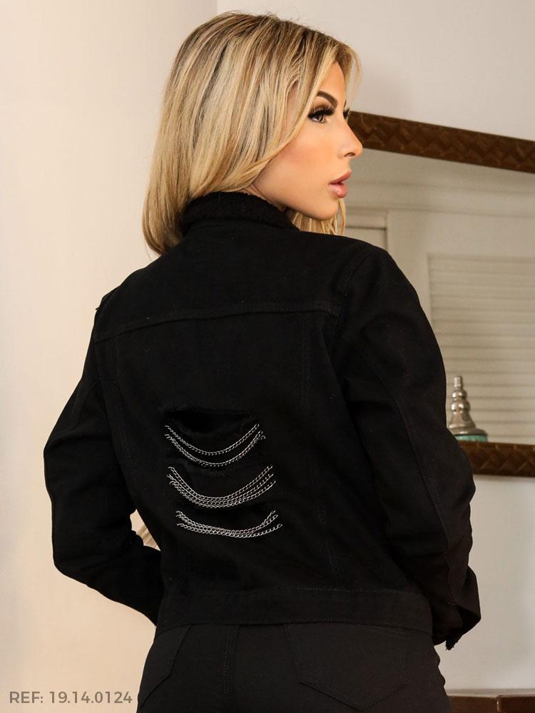 Jaqueta feminina com pelo