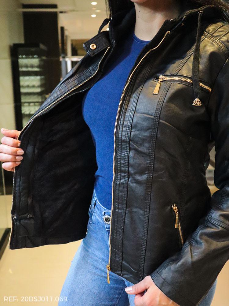 T. jaqueta feminina couro ecologico