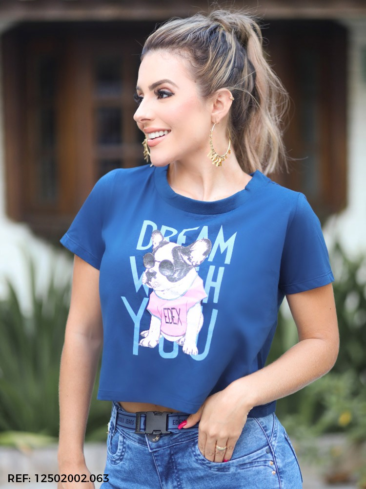 T-shirt feminina cropped mc