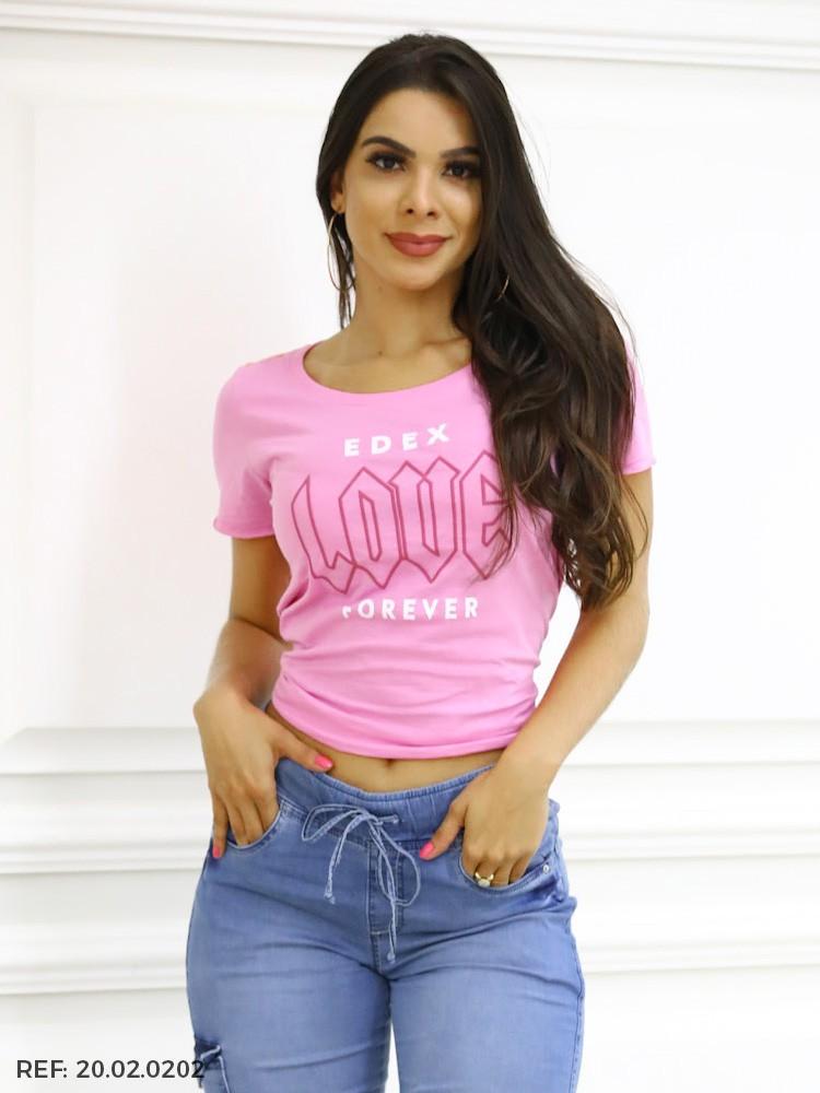 T-SHIRT FEMININA MC GOLA O