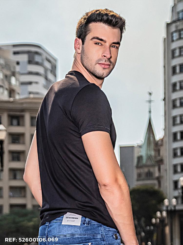 T-shirt masculina slim fio egípcio