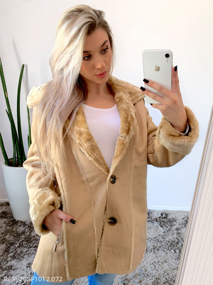 Terc. jaqueta feminina camurca plus