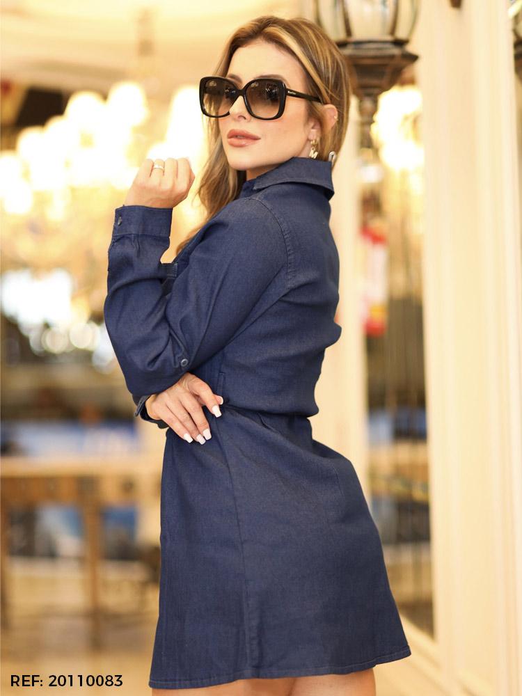 Vestido feminino manga longa cinto
