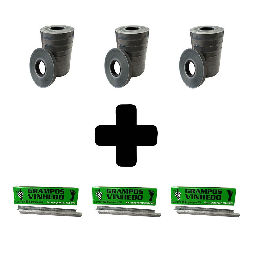 Kit - 3 caixas de grampo + 30 rolos de fita