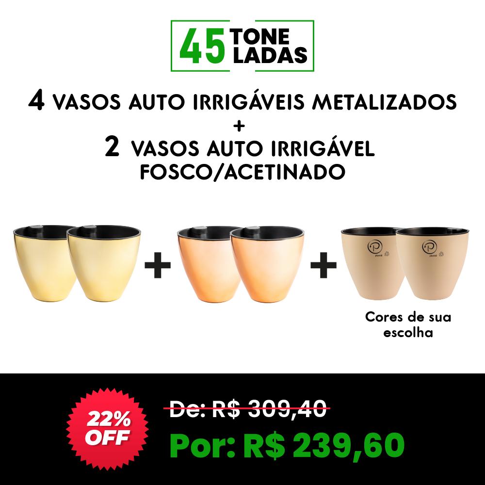 COMBO 4 - 4 VASOS AUTO IRRIGÁVEIS METALIZADOS. → GANHE 2 AUTO IRRIGÁVEL FOSCO/ACETINADO ← 45 TONELADAS