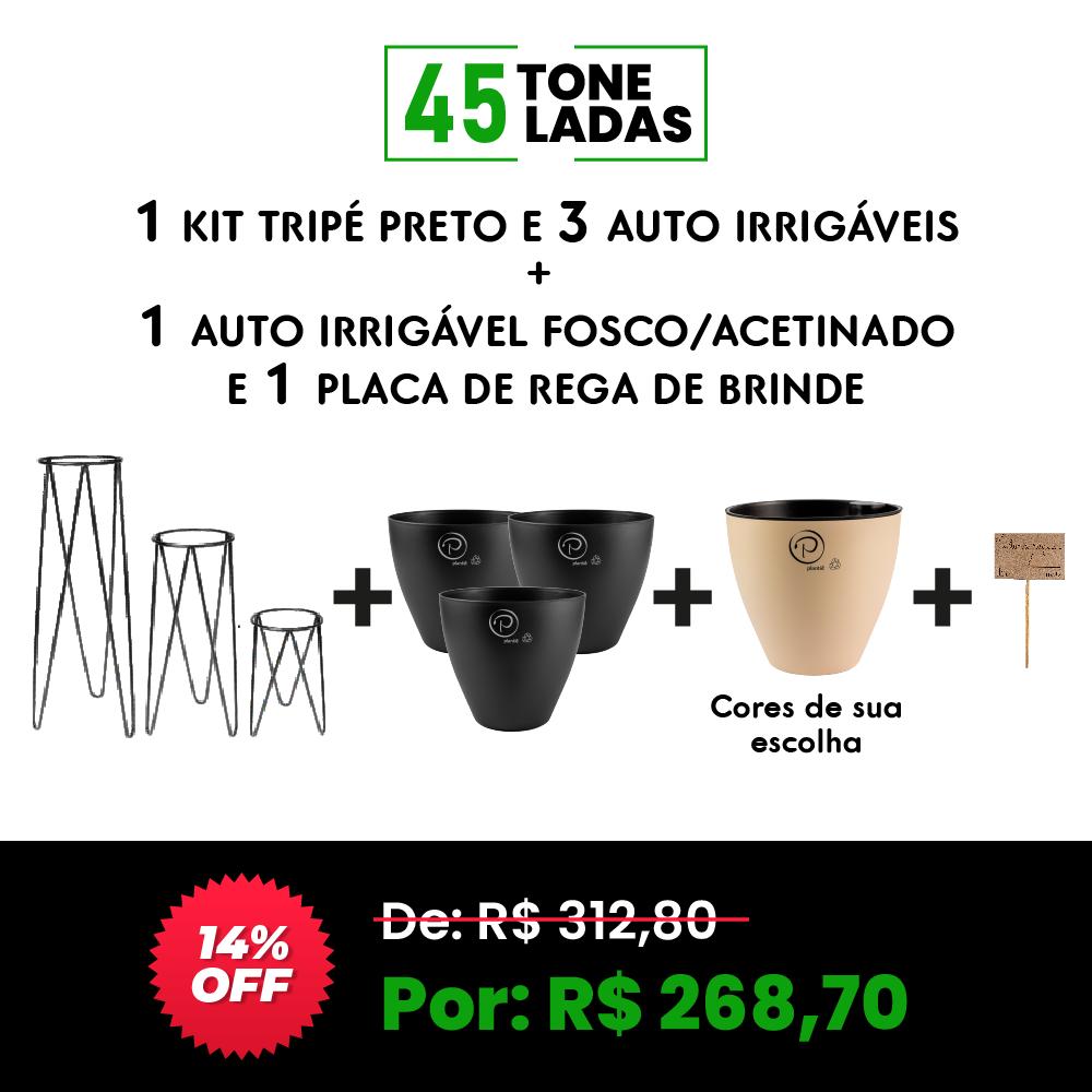 COMBO 5 - 3 VASOS AUTO IRRIGÁVEIS + KIT TRIPÉ PRETO. → GANHE 1 AUTO IRRIGÁVEL FOSCO/ACETINADO + PLACA DE REGA ← 45 TONELADAS