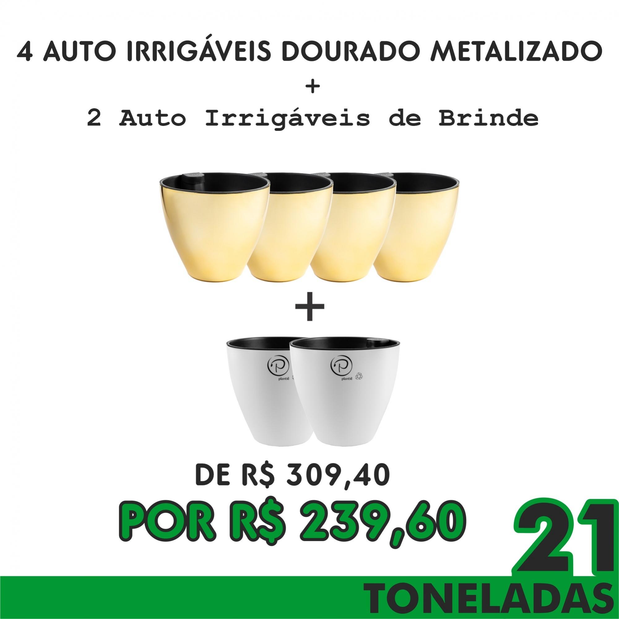 KIT 6  - 4 AUTO IRRIGÁVEIS METALIZADO DOURADO GANHE 2 AUTO IRRIGÁVEIS BRANCO - 21 TONELADAS