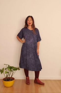 Vestido Crescente Midi Azul Estonado