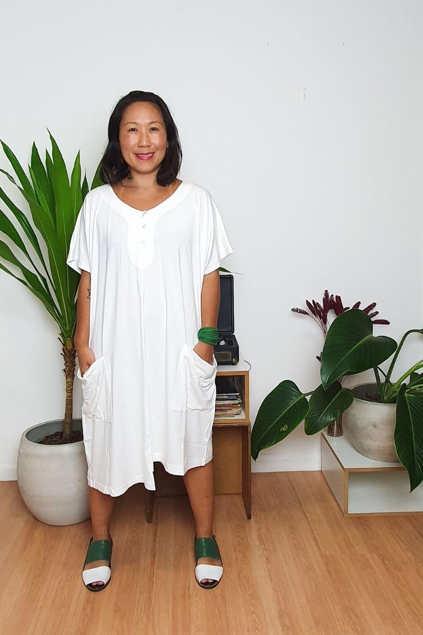 Blusa Vestido Assimétrico Água Off White