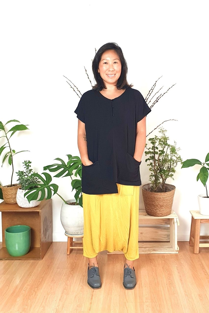 Blusa Vestido Assimétrico Água Preto
