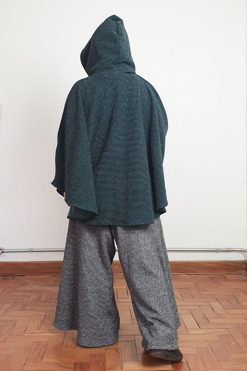 Poncho Vitória Régia Tweed Verde