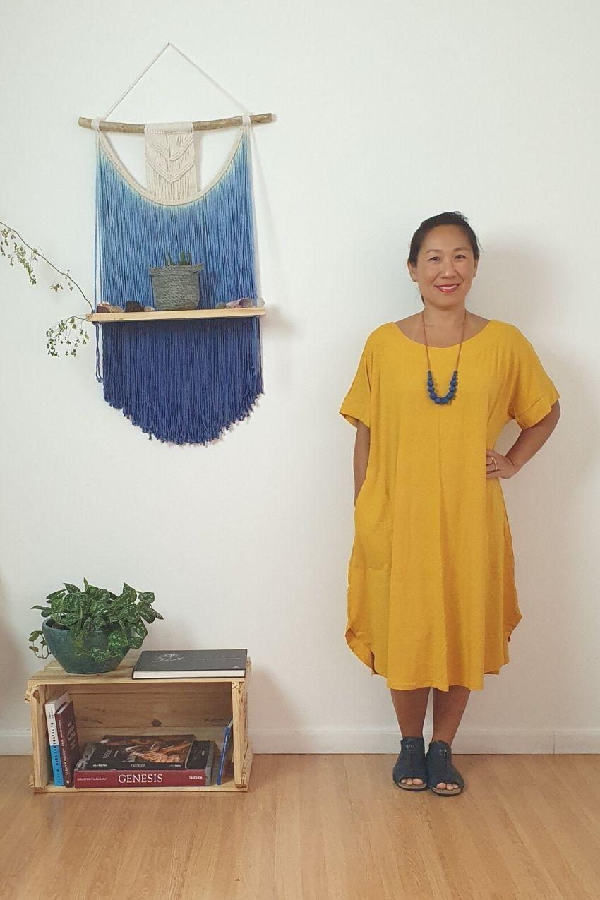Vestido Crescente Midi Amarelo Mostarda
