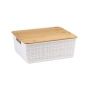 Caixa Organizadora com Tampa de Bambu - 12L - Branco - Oikos